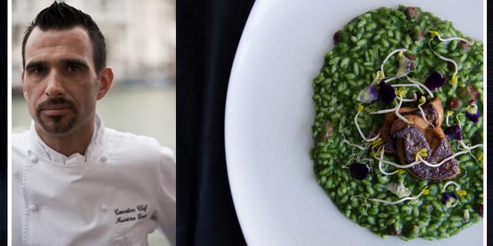 Massimo Livan propone il Risotto Vialone Nano all'ortica con fragoline di bosco e foie gras
