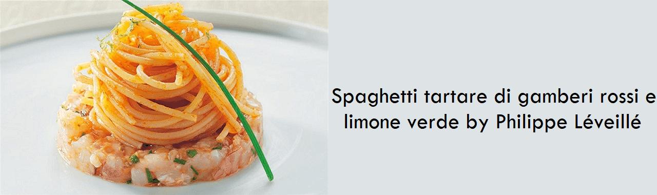 Spaghetti tartare di gamberi rossi e limone verde by Philippe Léveillé