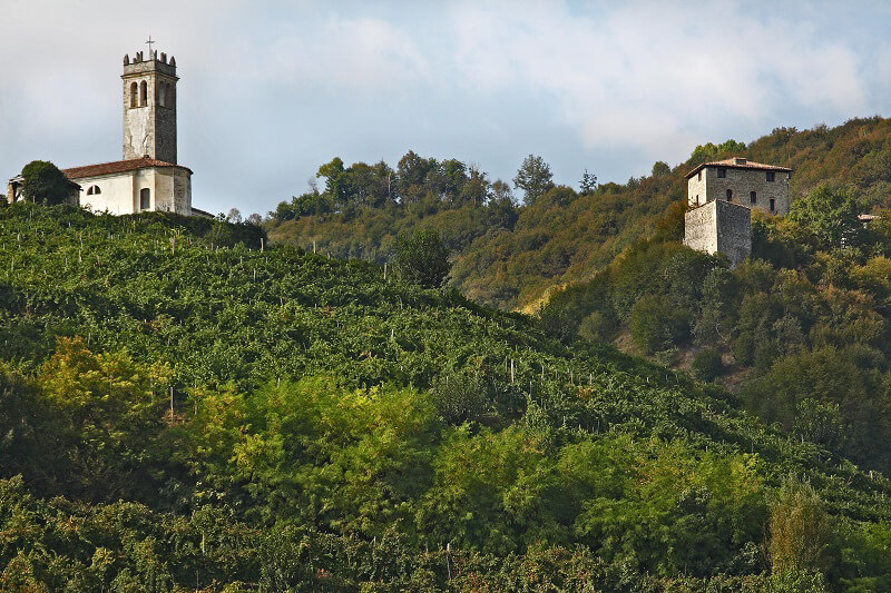 Prosecco Superiore Torri di Credazzo e la chiesa di S. Lorenzo - Farra di Soligo