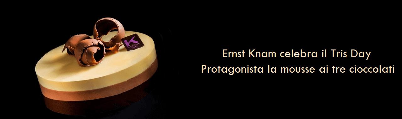 Ernst Knam celebra il Tris Day: protagonista la mousse ai tre cioccolati