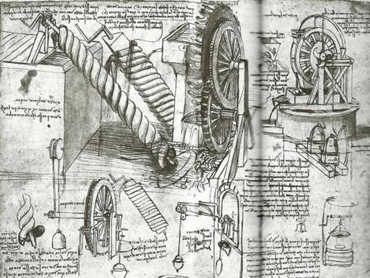 La macchina per spaghetti di Leonardo , disegno tratto dal Codice Atlantico.