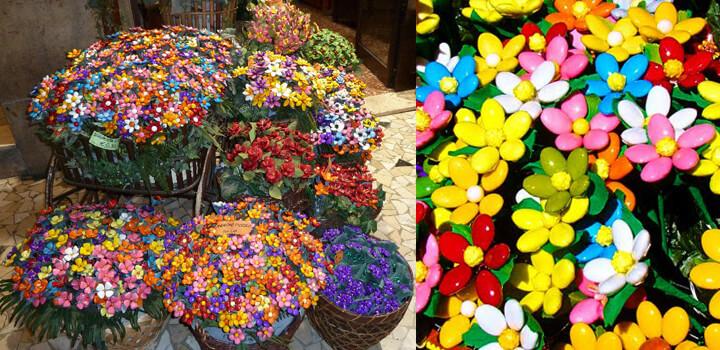 composizione floreale con confetti