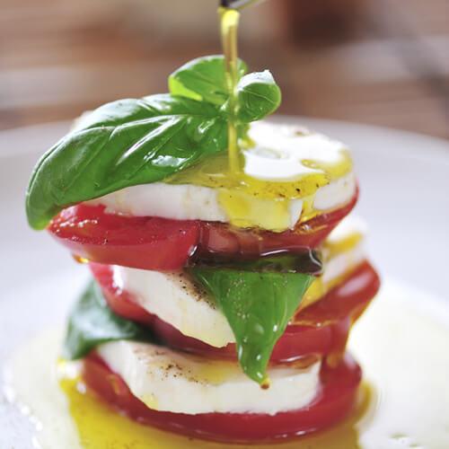 Pomodori, mozzarella e olio