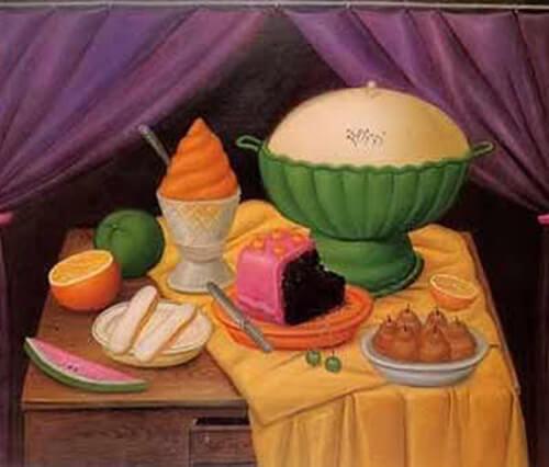 Fernando Botero - Natura morta con gelato. 1990, collezione privata.