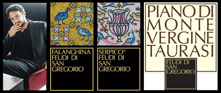 Antonio Capaldo con le etichette di alcuni dei vini di maggior successo di Feudi