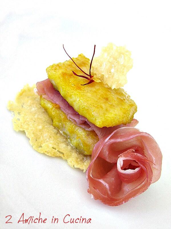 Trota allo zafferano di Cascia con prosciutto di Parma su cialda di Parmigiano Reggiano 3