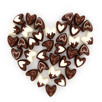 chocolate candy hearts on a a white background