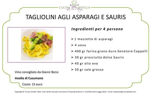 Tagliolini agli asparagi e sauris