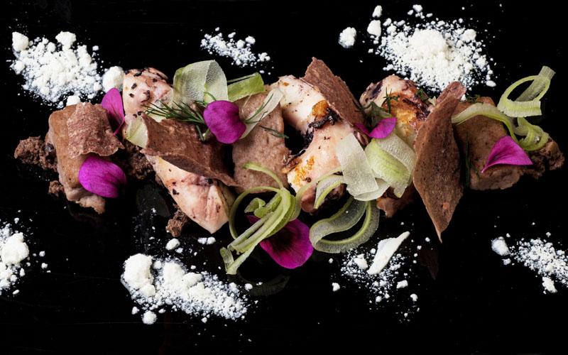 Venezia Ristorante Antinoo. Chef Massimo Livan.La Piovra (The Octopus): Tre consistenze di piovra con yogourt greco, aneto fresco, olive taggiasce e di sedano.