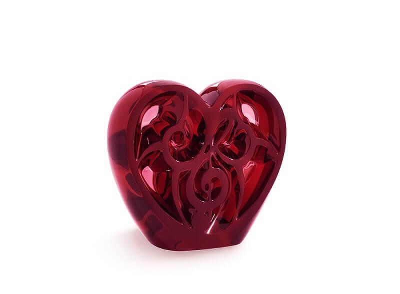 Regalo di design Lalique music-is-love-heart-sculpture-red