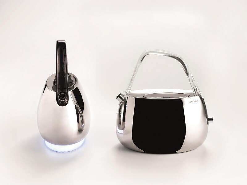 Bollitore Jacqueline manico satinato trasparente nero Casa Bugatti