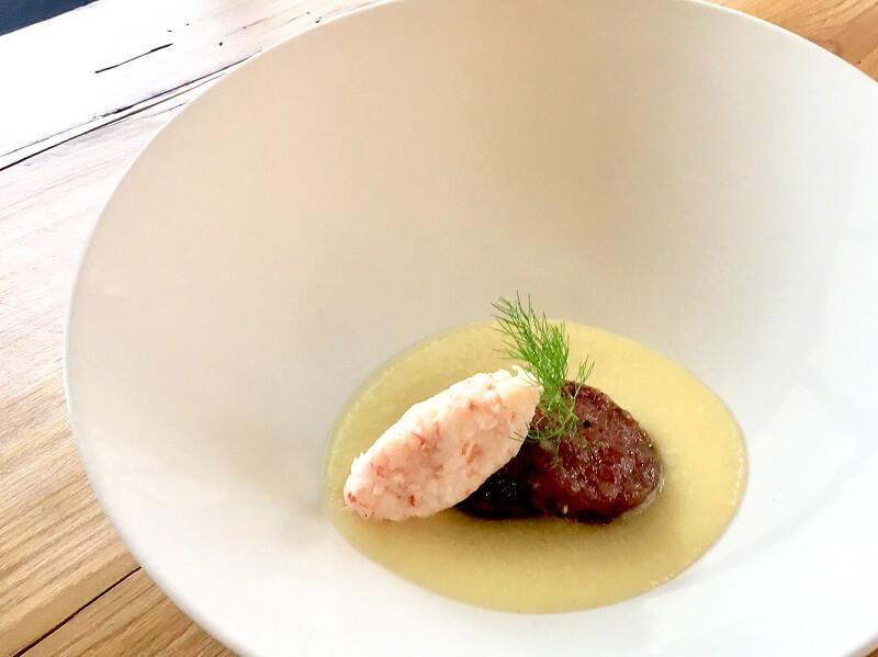 Ricetta a quattro mani Musetto con tartare di mazzancolle di laguna e salsa brovada chef Scarello e Marchiori